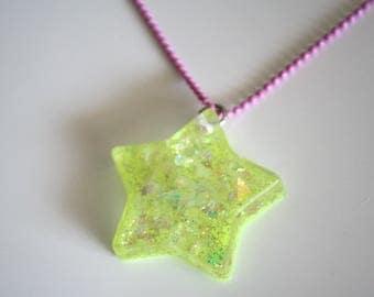 Neon Holographic Resin Kawaii Star Ball Chain Necklace