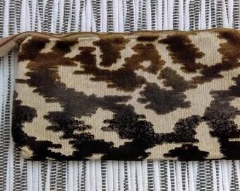 """Brown with Velvet Texture Handle Zipper, 11 6/8"""" x 6"""""""