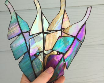 Clear Iridescent Stained Glass Feather