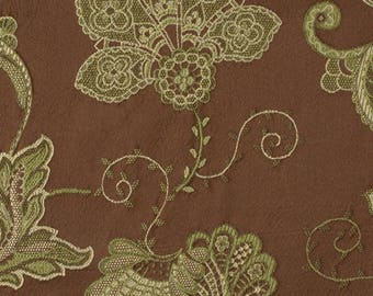 Leafy Brocade in Chocolate brown and green hues