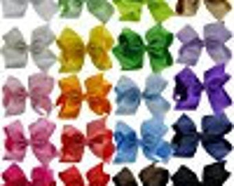 3 inch bow/grosgrain ribbon/ alligator clip 20 colors