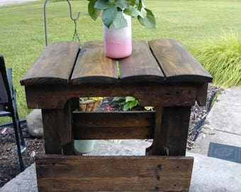 End table, side table, pallet end table, plant stand.