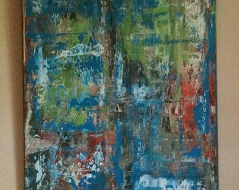 Original Abstract Painting Free shipping Original Painting  Art BLue Green Restful Textured Large Painting