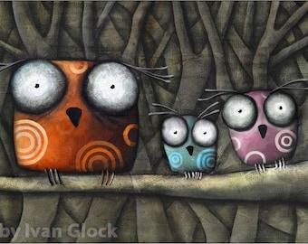 three Owls  in forest, Owls Drawing, Cute owls, Owls cartoon, big eyes Owls colored Owls