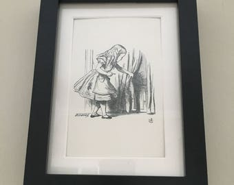 Classic Alice in Wonderland Illustration - framed Postcard - Alice - Black and White