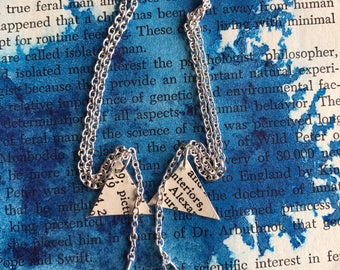 Dangling Silver Chain Book Page Earrings