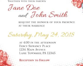 Wedding Invitation - Halftone Roses Pattern