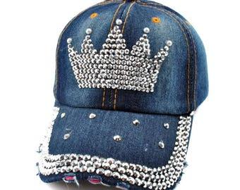 Crown Rhinestone Embellished Denim Baseball Cap