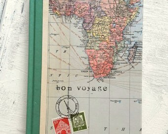 World map travel journal, ruled notebook, bon voyage journal, Africa