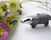 Needle Felted Badger, Badger Keyring, Woodland Animals, Nature Gift