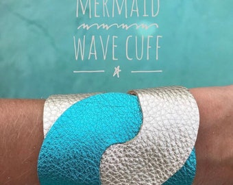 Mermaid Wave Turquoise & Gold Leather Cuff