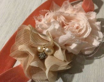Baby flower peach and pearl headband