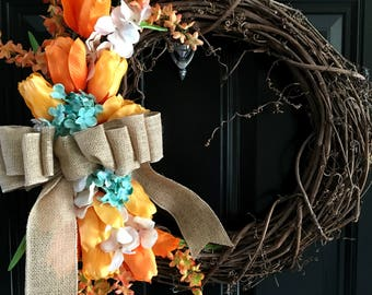 Orange Tulip Wreath, Summer Wreath, Spring Wreath, Burlap Wreath, Front Door Wreath