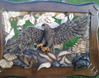 Wood Carved picture eagle Gift for the hunter