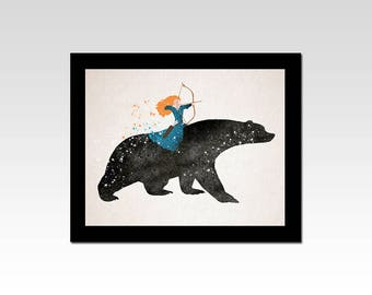 Brave inspired Merida and Queen Elinor Bear print