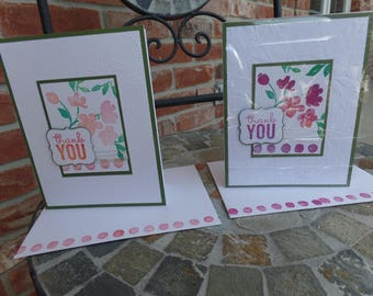Thank You Cards Handmade One-of-a-Kind Flower Blank on the Inside