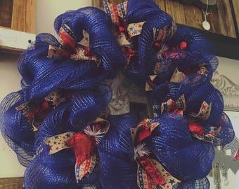 Patriotic, 4th of July, Deco-mesh Wreath