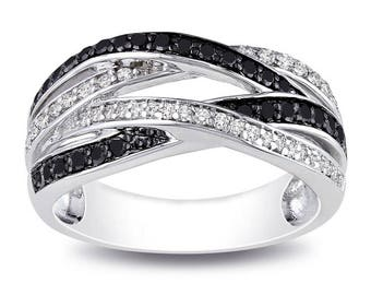 Just In Today!  Black and White Sapphire Sterling Silver Ladies Ring Size 8