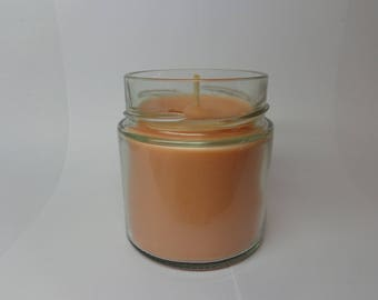 Amber scented soy vegetable wax.