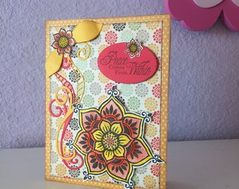 Beautiful Sympathy card, bold mandala floral, hand water colored, Thinking of You card, encouragement card