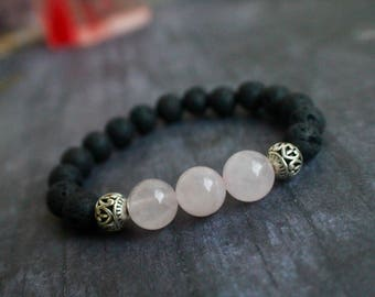 Genuine Lava Stone Rose Quartz Bracelet, Stretch, Healing, Diffuser Bracelet, Baby Shower Gift