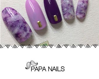 Handmade Artificial (fake)GEL Nail Tips, Purple