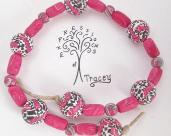 Pink and Black beads, handmade beads, polymer clay beads.
