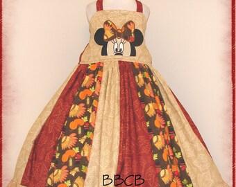 Girls - Minnie Thanksgiving Harvest Dress - Autumn Fall -- fits aprx 6/7 7/8 - Pumpkins - Holiday - RTS