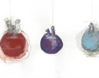 Original watercolor art, sculpture study drawing, original watercolor & pastel drawing, original art, watercolor art, wife birthday gift art
