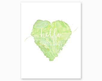 NURSERY QUOTE PRINTABLE, Hello Sweet Baby, Green Watercolor Heart, Typography Nursery Art, New Baby Gift, Digital Download, Instant Download