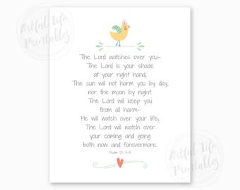 PSALM 121, The LORD Watches Over You, Girl Nursery Printable, Bible Verse Printable, Baby Shower Gift for Girls, Scripture, Instant Download