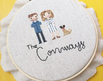 Cotton Anniversary mini people Cross Stitch 2nd anniversary gift for wife husband Personalized custom Gift for Her. Statement Wife Gift