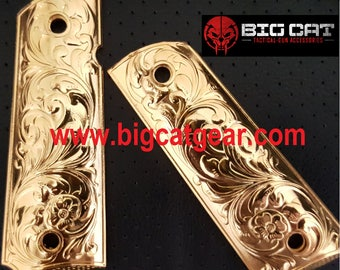 1911 Colt pistol custom metal grips colt full size government gold plated