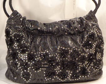 Midnight Ivy Mylinka handbag - large - European embossed leather with beads, sequins, Swarovski crystals Made in USA