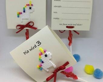 Children's birthday 3 Pack lollipop invitation Unicorn