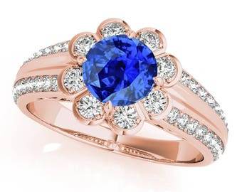 1.25 Ct. Halo Tanzanite And Diamond Engagement  Ring In 14k Gold