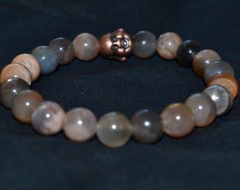 Bracelet. Metal Moon/Buddha stone