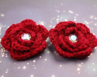 Medium Crochet Flower Hair Clips - Pair