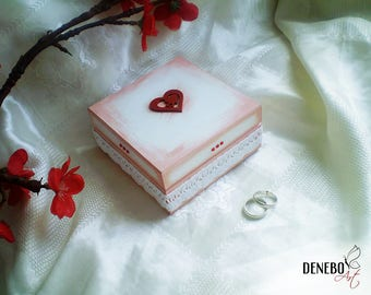 Wedding ring holder ready to ship bride and groom ring box red heart box white wedding ring box jewelry box red ring box jewellery small box