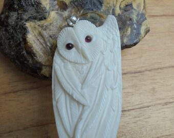 Owl Bone Pendant with Garnet Stone, Bali Bone Carving Jewelry  OWL 06