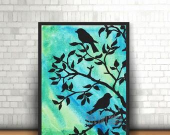digital download, print, birds, wall decor, branch, watercolor, instant, bedroom, living room, office, download, image