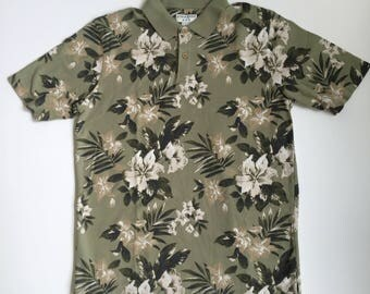 Light Green Polo - Tropical Pattern