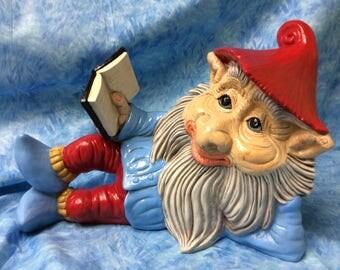 Ceramic Gnome reading book