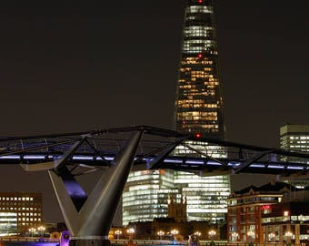 London at night, The Shard and the Millennium Bridge