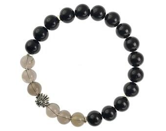 Black Tourmaline and Smoky Quartz Men's Bracelet