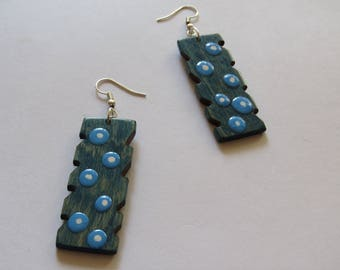 Handmade wooden earrings Sky style