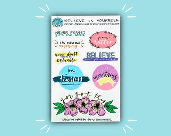 Believe in Yourself | Motivation Planner Sticker | Bullet Journal Stickers | Stickers for Planners, Journals and More | Journaling Supplies