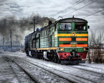 Locomotive printed on canvas size A2