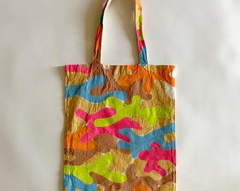 Hand painted neon woodland camo eco bag (L)