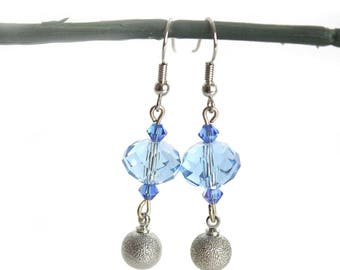 Blue beads and silver Bell earrings